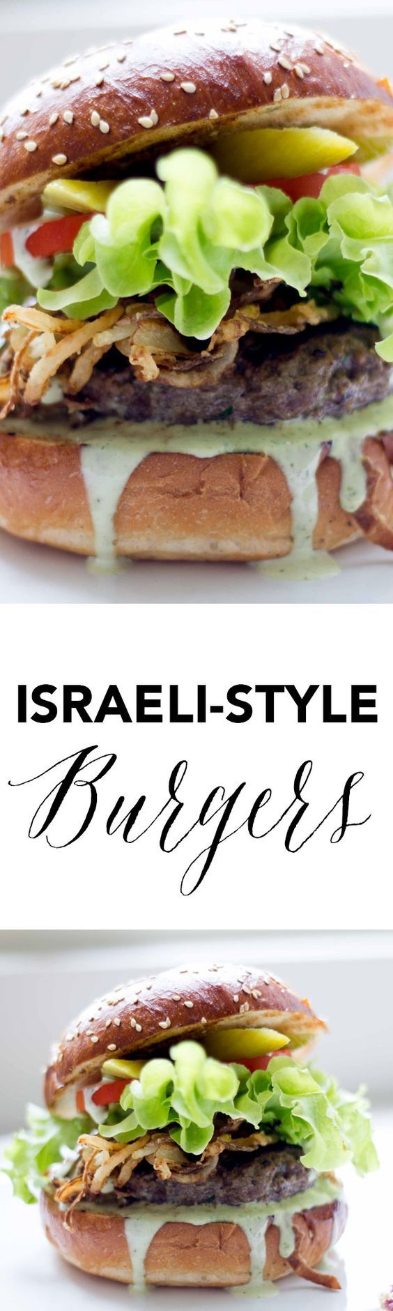 These Israeli style burgers are a great twist on a classic with za'atar spiced buns, spicy green tahini sauce, and middle-eastern flavored beef patties!