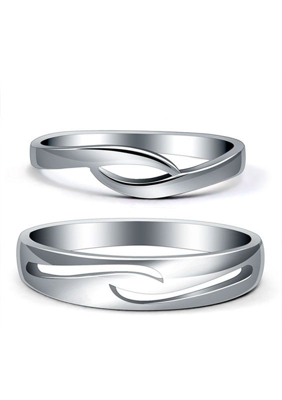 Matching Promise Rings Set for Couples, Cute Wave Wedding Rings for Girls, for Girlfriends & Boyfriends, Sterling Silver Jewelry for Him and Her @ iDream-Jewelry.Com