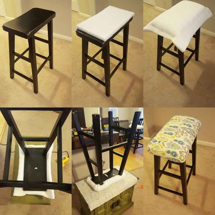DIY Saddle seat bar stool padding. Step by step photos. Used only a staple gun two layers of foam and a thick canvas like fabric. Came out great! #diy #barstool