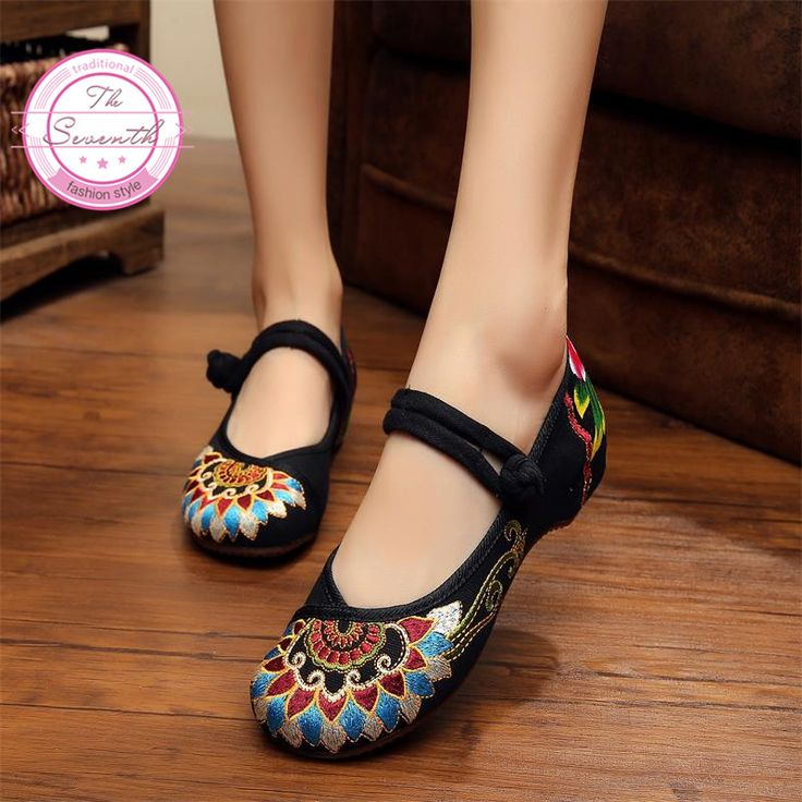 Fashion Old Peking Cloth Shoes, Chinese Style Totem Flats Mary Janes Embroidery  Casual Shoes,  Red+Black Dance Women Shoes-in Women's Flats from Shoes on Aliexpress.com | Alibaba Group