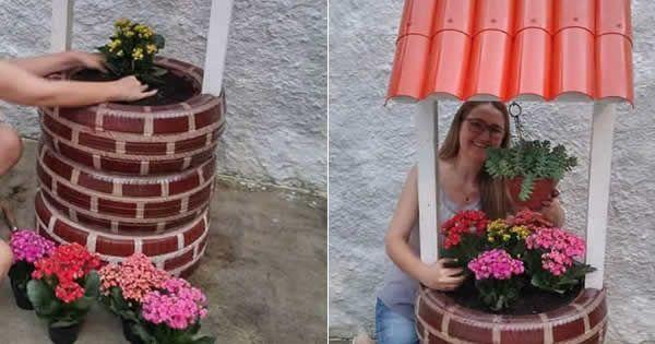 Na jardinagem, o pneu pode ser reaproveitado de várias formas, como na montagem de canteiros, floreiras e hortas =)