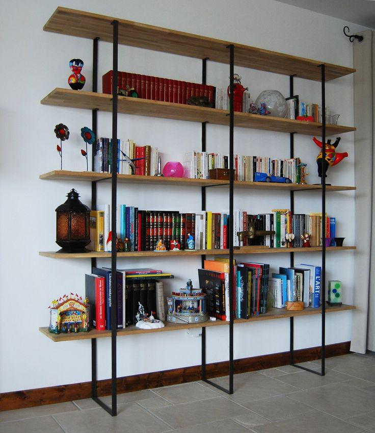 Bibliothèque métal et bois   escaliers thiebert