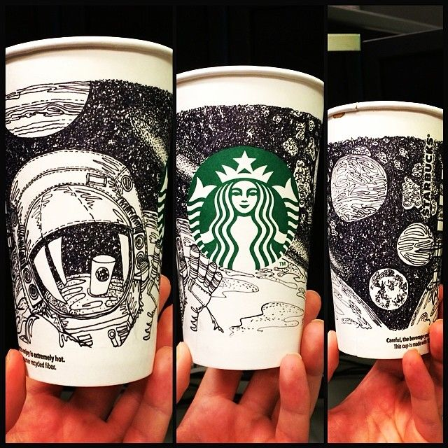 """""""Starbucks in Space"""" Cup I drew for @Starbucks Loves White Cup Contest...because Starbucks is out of this world ;)"""