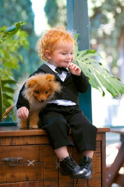 Precious lad and his dog... Both redheads!