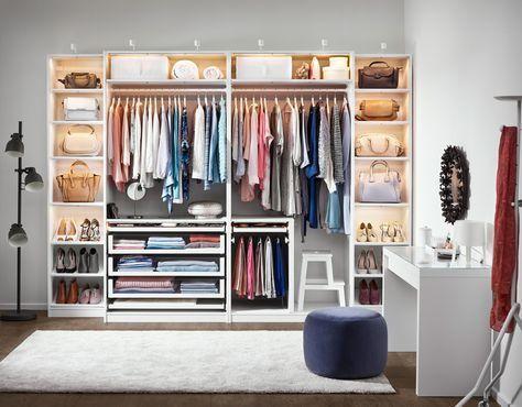 Arrangement im Schlafzimmer und Kleiderschrank mit Ikea