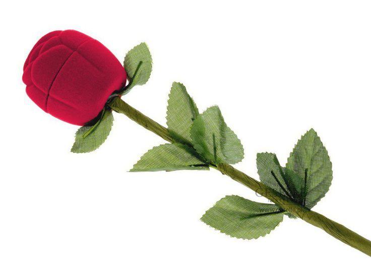 Ozdobne, welurowe pudełeczko na pierścionek zaręczynowy - piękna, czerwona róża dla Ukochanej | NA PREZENT \ Opakowania na biżuterię od GESELLE Jubiler
