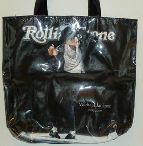 "Michael Jackson Black Rolling Stone Tote Bag ""MOONWALK"" Edition."