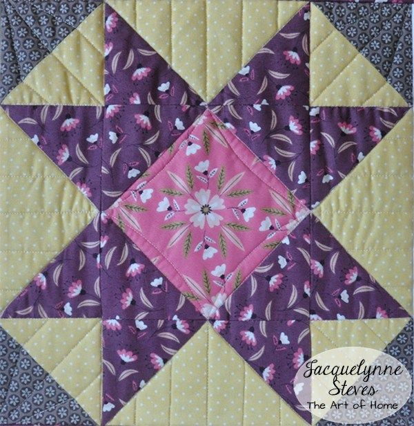 Fussy cut your block centers to add quick and easy interest to your quilt projects. FREE Spring Table Runner Pattern | JacquelynneSteves.com