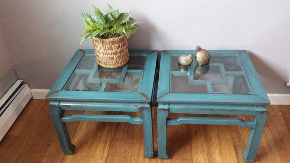 Teal coffee table, turquoise Ming Bohemian, Chinese, chinoiserie pair oriental, set side bunching tables, blue, dynasty asian, hand painted