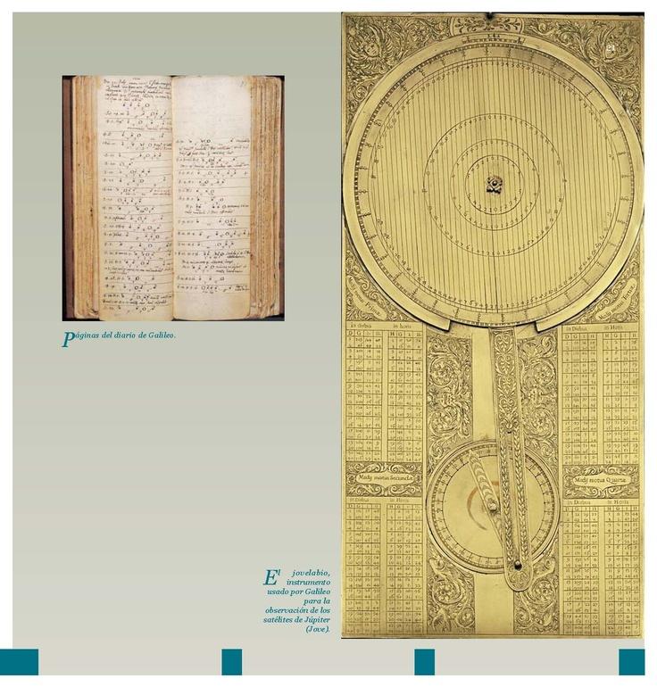 Páginas del diario de Galileo // El jovelabio, instrumento usado por Galileo para la observación de los satélites de Júpiter.