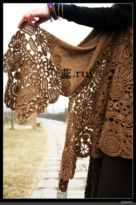 #Crochet #Tutorial with huge photo details for this shawl with Irish Crochet Motifs. Japanese tutorial on Russian site, so the pictures say it all :)