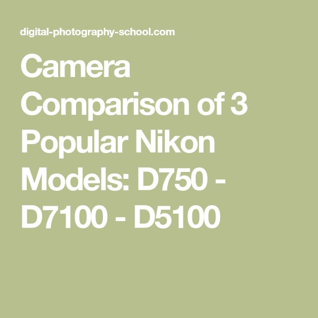 Camera Comparison of 3 Popular Nikon Models: D750 - D7100 - D5100