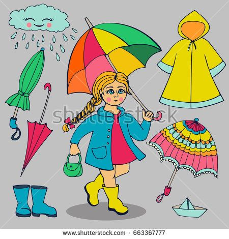 Set of clothes and accessories for rainy weather. Girl with bright umbrella, raincoat, rubber boots