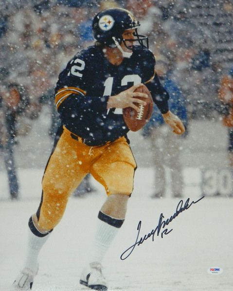 Terry Bradshaw signed Pittsburgh Steelers snowing action 16x20 photo. Item comes with a PSA/DNA tamper evident numbered sticker and matching Certificate of Authenticity which can be verified online.