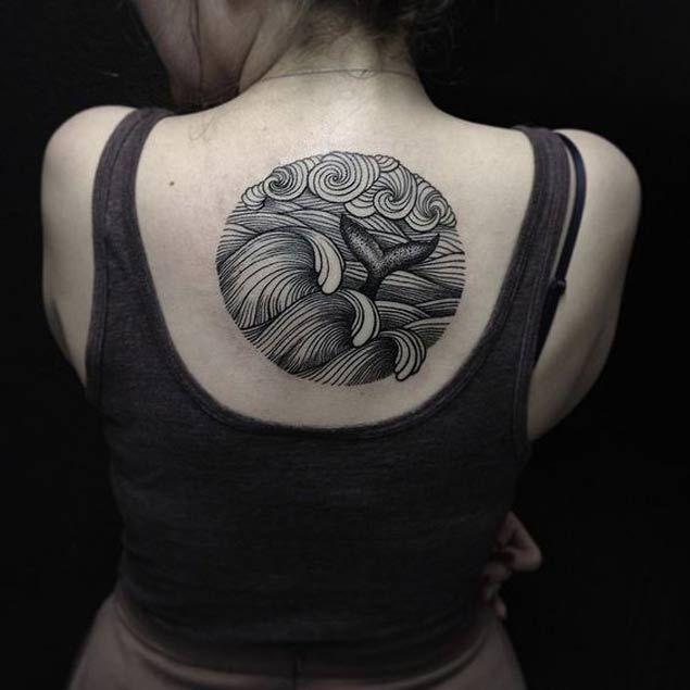Waves & Whale Tattoo by Sasha Masiuk
