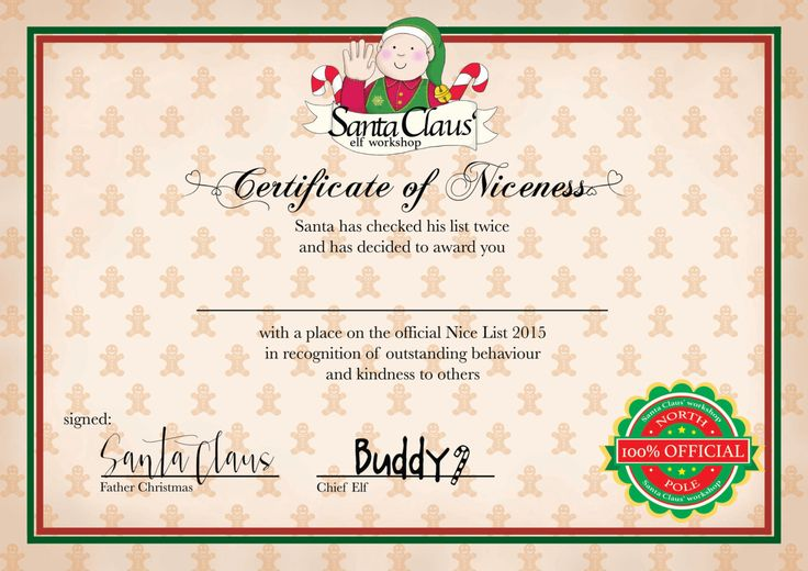 List Certificate Free Printable Personalised ' santa's nice list 2015 ...
