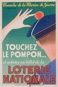 """vintage poster for French national lottery """"Touchez Le Pompon""""  go ahead, I dare ya"""