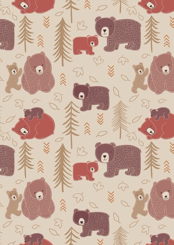 Big Bear Little Bear A102.1 - Big bear, Little bear on milky tea from Lewis & Irene // Juberry Fabrics