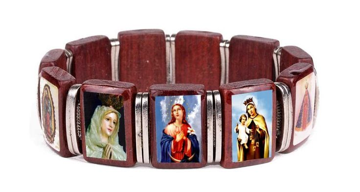 Blessed Mary Icons Religious Catholic Wooden Stretch Bracelet, Made in Brazil. Wood Bracelet with 11 Images of Mary. Silver Color Metal Spacers. Stretchable for Comfort Fit. Made in Brazil. A great gift for everyone of all ages.