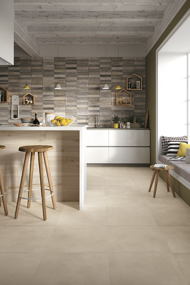 Reve by Mirage #miragetile #kitchen #kitchendesign #interiordesign #resin #brick #walldecor #floor #porcelaintiles