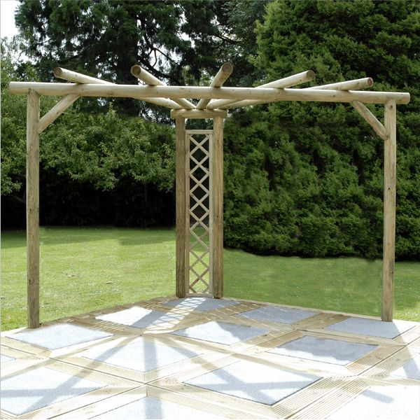 This Corner Pergola is the perfect addition to any garden or patio, this stylish structure will create a shady, quiet corner – perfect for relaxing. The round timber uprights, cross beams and rafters have been précising machined, so each piece fits precisely into another.