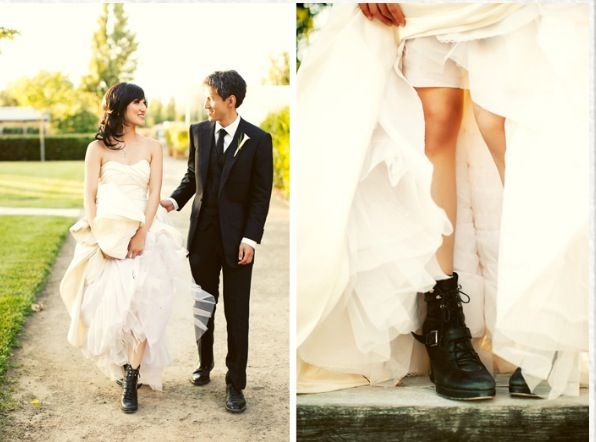 Love the edgy boots with the wedding gown.