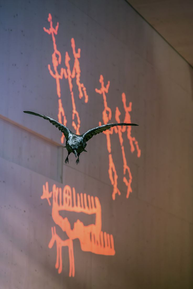 The raven acts as the storyteller of Haltia´s main exhibition. Photo: Jari Kostet