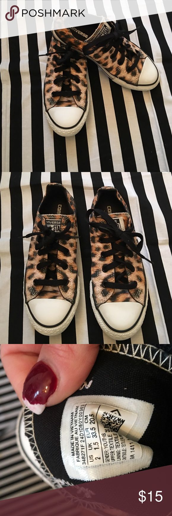 Girls size 2 leopard converse all stars Good condition!! Size 2 leopard converse all stars. Converse Shoes Sneakers