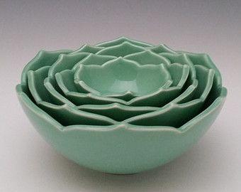 Ceramic Nesting Bowls Serving Bowls Set of Eight Green Bowls