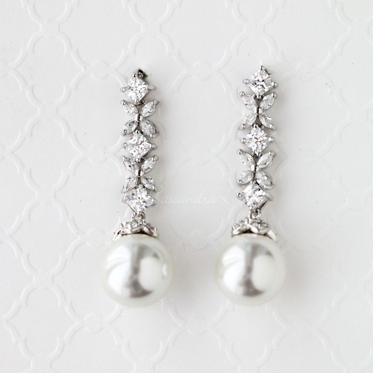 Bridal Earrings of CZ and Pearl Drops from Cassandra Lynne