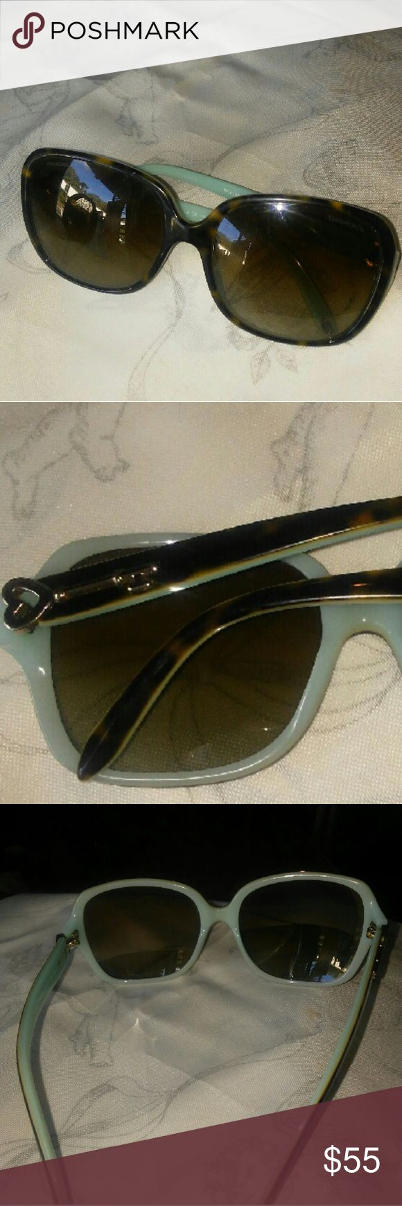 TIFFANY SUNGLASSES Elegant Tiffany Ochelari de Soare women's sunglasses.  Sunglasses are brown, black and blue number TF 4056 8134/T5.  Lenses from top to bottom are 2 inches long and 2 1/2 inches wide.  Temples are 3 1/2 long.  Temples tips are 1 1/2 inch long.  Please note, there are a few signs of usage. Tiffany & Co. Other