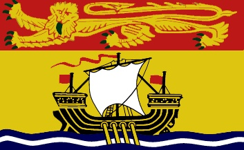 The flag of New Brunswick was officially adopted and hoisted on July 16, 1966.             The yellow field is dominated by a galley ship representing local shipbuilding. It sails on wavy blue and white lines, and display a white sail and three red flags. The golden lion is representative of new Brunswick's ties to Britain