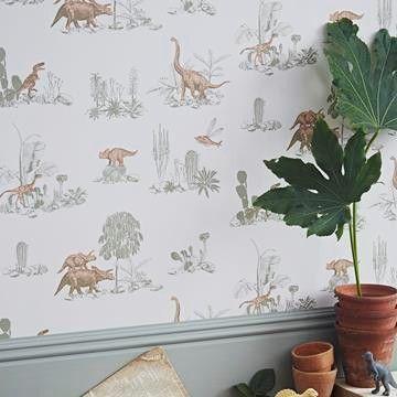 Dino tapeter från hos Engelska Tapetmagasinet. Barn rosa-grön tapet. Köp fraktfritt online eller besök butiken i Göteborg.