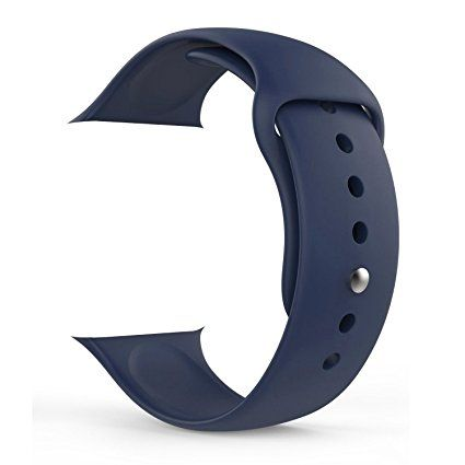 Apple Watch Band,Teslasz Soft Silicone Replacement Sports Wristbands Straps for Apple iWatch All Models (Dark blue 38 MM) Review 2017