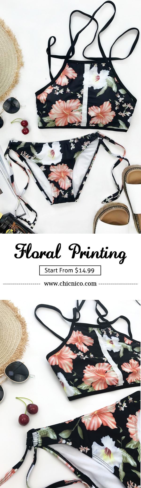 $23.99 Let your swimsuit do the sexy-talking. Do not wander around. More cute pieces at chicnico.com ! Chicnico Vintage Floral Print Tie Side Tank Bikini Set