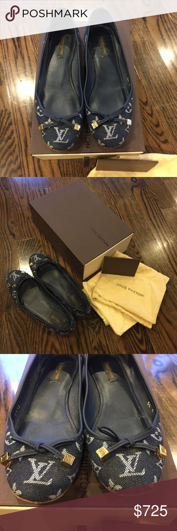 Louis Vuitton Monogram Denim ballet flat Like new condition. No flaws or imperfections. The only wear to the shoes is on the bottoms. Gorgeous LV monogram dice on the ends of the bows. Just amazing!! Original dust bags and box included. Louis Vuitton Shoes Flats & Loafers