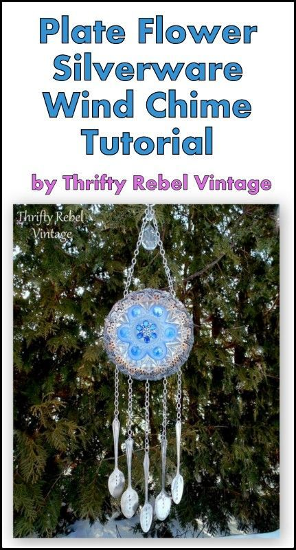 Make a lovely sounding wind chime using thrift store dishes and silverware as the chimes.