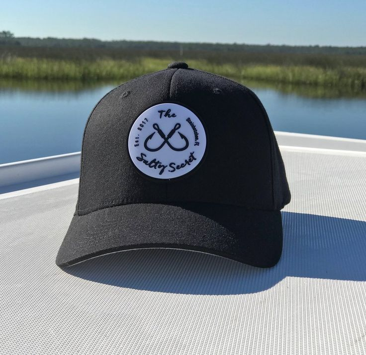 Black fitted hat salty secret custom rubber patch