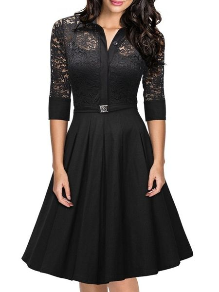 Black Hollow Out Lace Patchwork Vintage Graceful Lapel Skater Dress