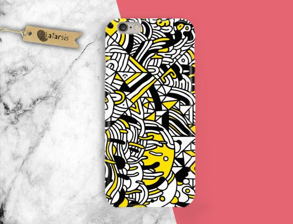 Zen Doodle Yellow Black and White iPhone 7 Case by KatarsisFactory