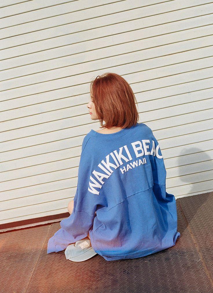 WAIKIKI BEACHロゴ切替ゆったりロングスリーブカットソーTシャツ