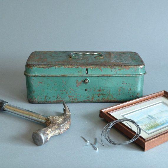 Vintage Tool Box Aqua Tool Box Blue Tool Box by BogieBacallVintage