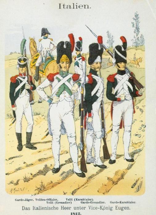 Cacciatore, ufficiale delle Vélites, Vélite dei granatieri, Vélite dei carabinieri, granatiere e carabiniere della guardia reale