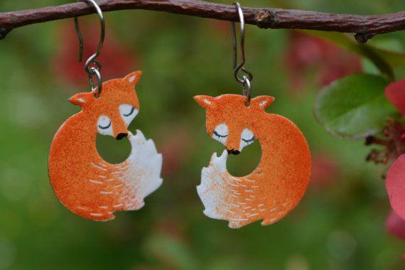 Cute fox earrings by #CinkyLinky