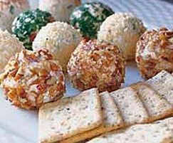 {Cheese Ball Truffles} make smaller versions of your favorite cheese ball - perfect for party guests to take one of each kind!
