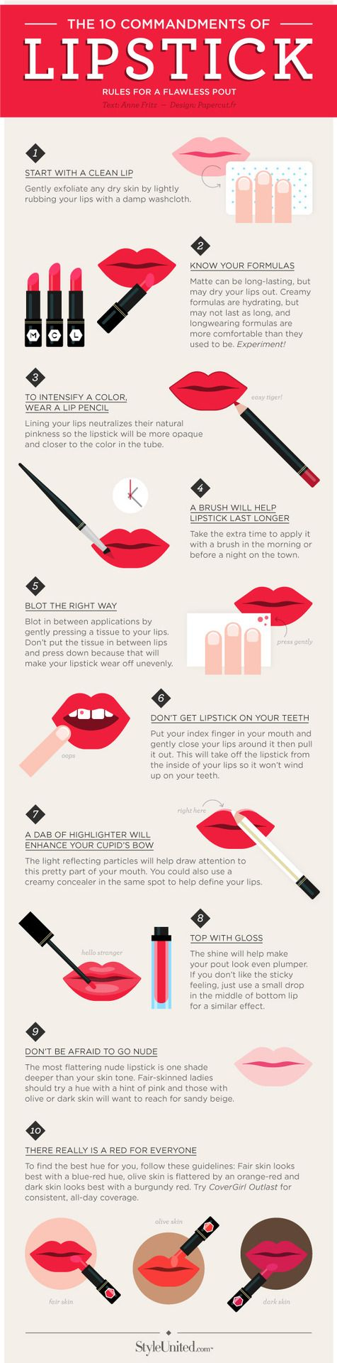 The 10 commandments of lipstick... Helpful especially if you are doing your own makeup for prom #ISOBeauty