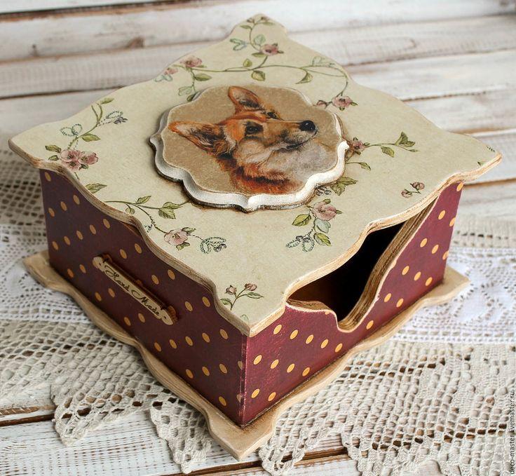 Купить шкатулка-салфетница ВЕЛЬШ КОРГИ - бордовый, шкатулка, подарок на любой случай, подарок на новый год
