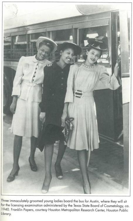 Three African American women on their way to take their licensing examination by the Texas State Board of Cosmetology ca. 1940. Beautiful