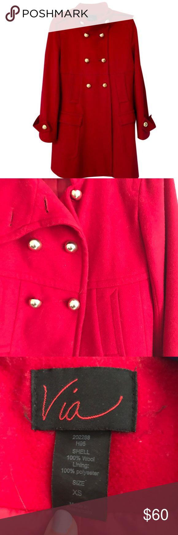 Via red pea coat with gold buttons Gorgeous pea coat, runs bigger than an xs. Gold buttons, medium length via  Jackets & Coats Pea Coats