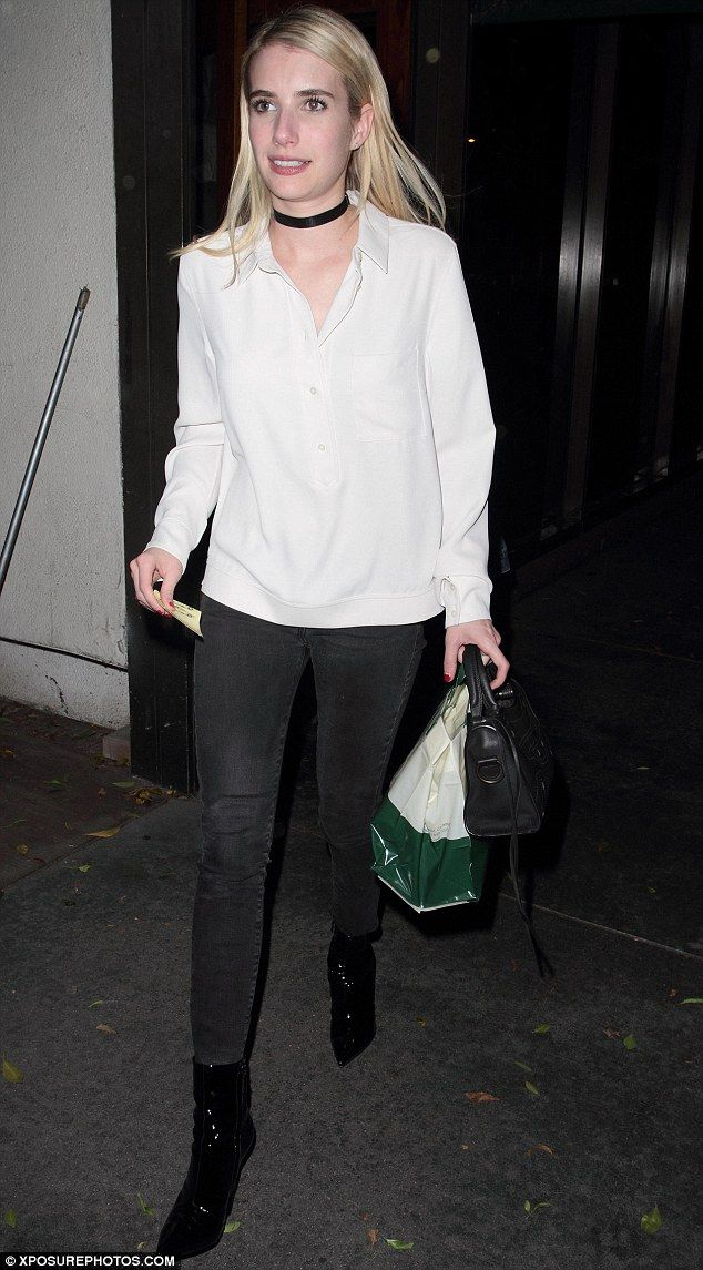 Monochrome magic: Emma Roberts looked effortlessly glamorous in a simple monochrome ensemble as she grabbed a bite to eat at Madeo Restaurant in West Hollywood on Wednesday